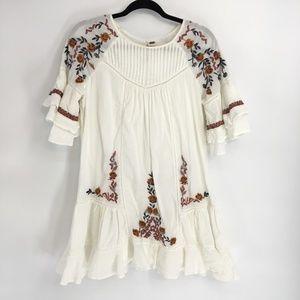 Free People White Boho Embroidered Mini Dress